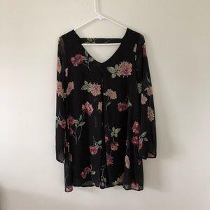 Honey punch vneck & low back long sleeve minidress